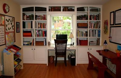 Built In Bookshelves Refurbished Desk And Cubbies