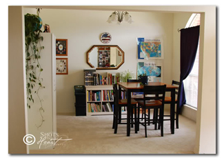 Homeschool room with futon and tv for Homeschool dining room ideas